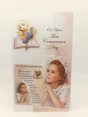 First Communion Card for a Girl with Holy Card