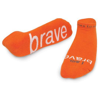 'I am brave'® orange low-cut socks regular price$12.99 Large