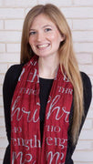 I Can Do All Things Infinity Inspirational Scarf (Burgundy)