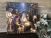 "Swarovski Crystal Nativity Canvas Print (10"") - Unique Catholic Gifts"