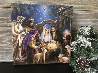 Swarovski Crystal Nativity Canvas Print (10