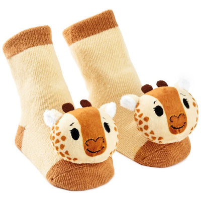 Noah's Ark Giraffe Baby Rattle Socks (itty bittys) - Unique Catholic Gifts