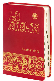 La Biblia Latinoamérica Piel , Roja con Indices - Unique Catholic Gifts