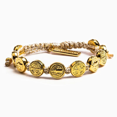 Benedictine Blessing Bracelet Gold Medals on Metallic Gold Cord