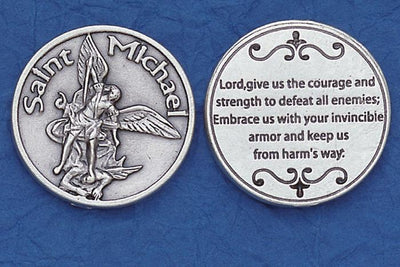 St. Michael the Archangel (Invincible Armor) Italian Pocket Token Coin - Unique Catholic Gifts