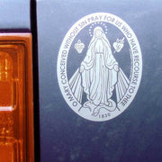 "Miraculous Medal Transparent Car Decal (4.25 × 5.75"")"