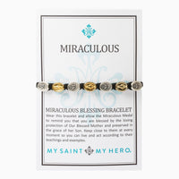 Miraculous Blessing Bracelet Silver and Gold Medals (mixed)on Black cord - Unique Catholic Gifts