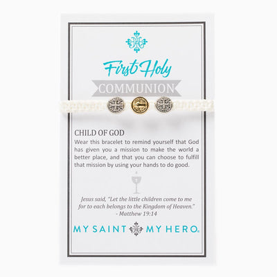 First Holy Communion Child of God Bracelet - Silver and Gold Medals (mixed) on White Cord - Unique Catholic Gifts
