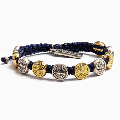 Benedictine Blessing Bracelet Gold and Silver Medals (mixed) on Navy Cord - Unique Catholic Gifts