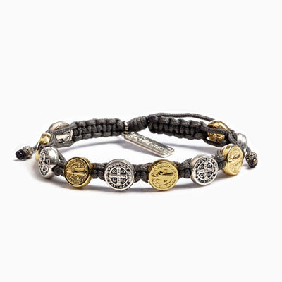 Benedictine Blessing Bracelet Silver  and Gold Medal (mixed) on Slate Cord