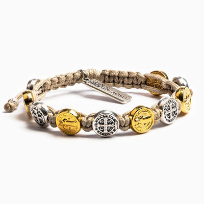 Benedictine Blessing Bracelet (mixed) Gold and Silver Medals on a Tan Cord - Unique Catholic Gifts