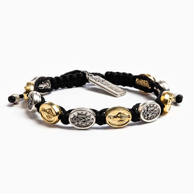 Miraculous Blessing Bracelet Black and Gold Medals (mixed)on Black cord