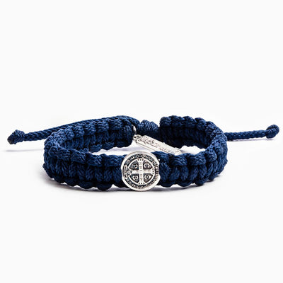 One Blessing Bracelet Silver with Navy Blue Band (Men's )