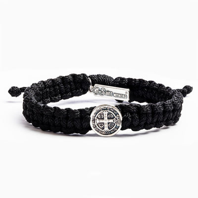 One Blessing Bracelet Silver with Black Band - Unique Catholic Gifts