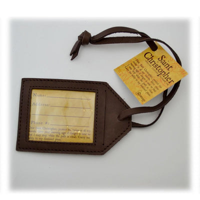 St Christopher Travel Tag Leather - Unique Catholic Gifts