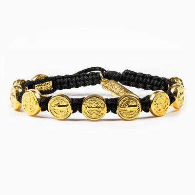 Benedictine Blessing Bracelet (Gold Medals on a Black Cord)