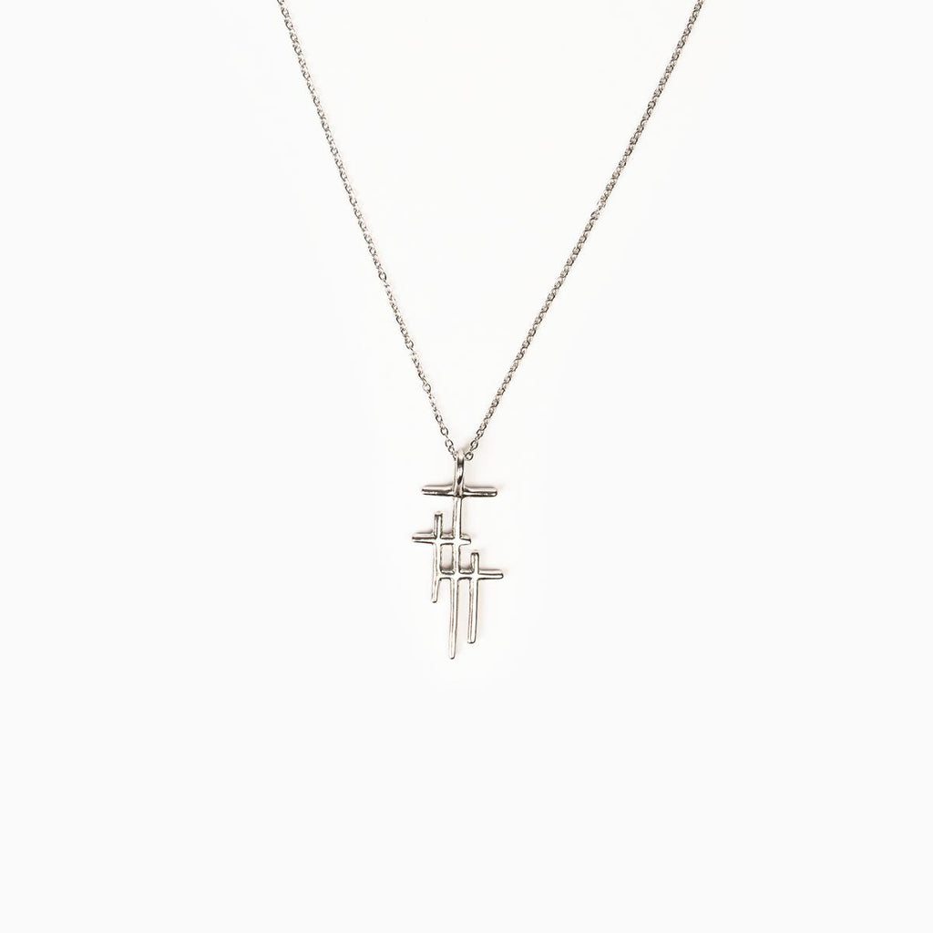 Faithful Light Three Cross Necklace Silver - Unique Catholic Gifts