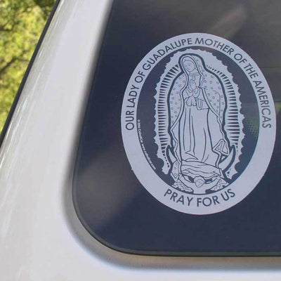 Our Lady of Guadalupe Transparent Car Decal (4.25 × 5.75