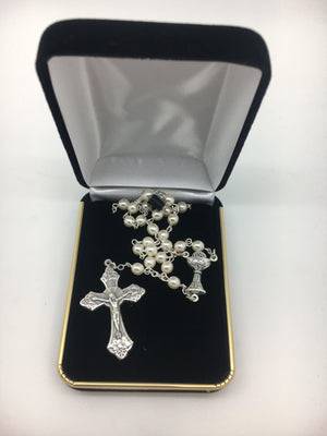 First Communion Pearl Rosary with Chalice Center Piece (5MM) - Unique Catholic Gifts