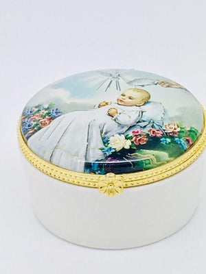 Round Porcelain Rosary Baptism Box with Glass Enclosed Top - Unique Catholic Gifts