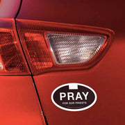 "Pray for Our Priest Euro Car Decal (5 x 3"") - Unique Catholic Gifts"
