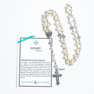 White Pearls and Silver - Rosary of Love - Unique Catholic Gifts
