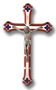 "7"" Red and Blue Enamel Salerni Cross Crucifix with Silver Tone Corpus - Unique Catholic Gifts"