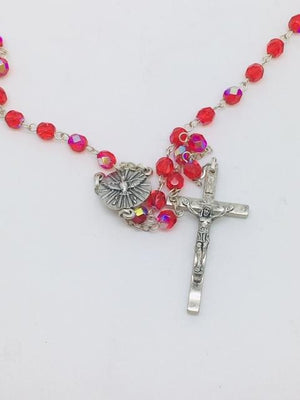 Red Holy Spirit Rosary in Pouch