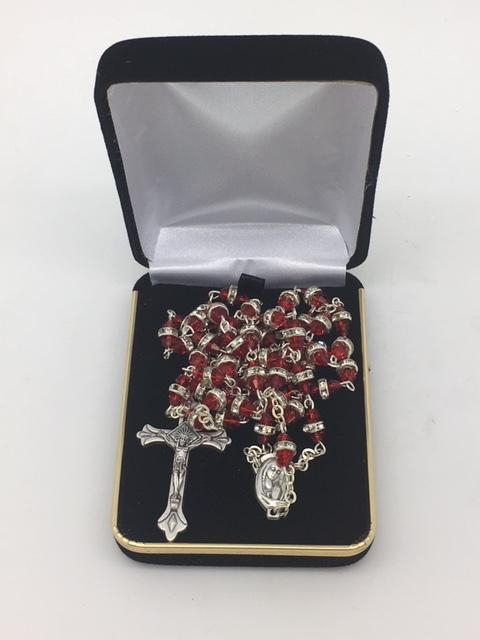 Red Rosary with Glass Rondelle Beads - Unique Catholic Gifts