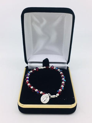 Red and Silver Bead Rosary Bracelet with Miraculous Medal - Unique Catholic Gifts