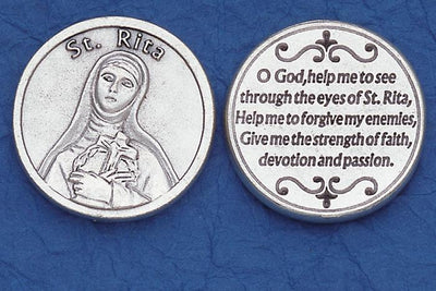 St. Rita Italian Pocket Token Coin - Unique Catholic Gifts