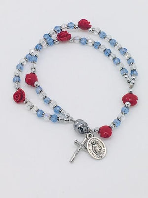 Roses and Crystals Rosary Bracelet