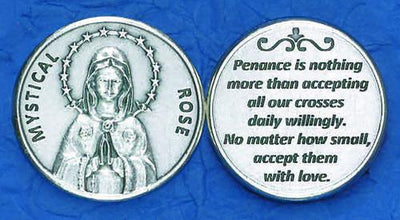 Mystical Rose Italian Pocket Token Coin - Unique Catholic Gifts