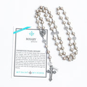Platinum Pearls and Silver - Rosary of Love - Unique Catholic Gifts