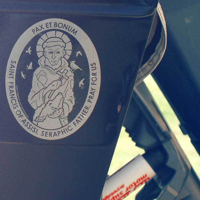 Saint Francis of Assisi Transparent Car Decal - Unique Catholic Gifts