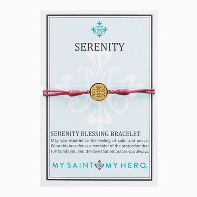 Serenity Blessing Bracelet Gold with Fuchsia Cord