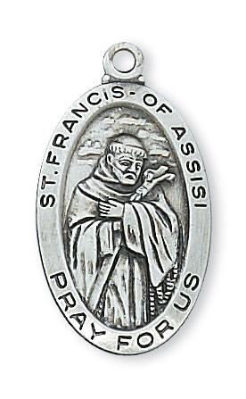 "Sterling Silver St Francis Medal (1"") on 18"" chain. Patron Saint of Animals - Unique Catholic Gifts"