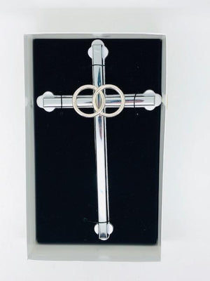 Silver Wedding Cross with Silver Rings (6