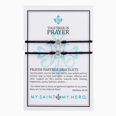 Together in Prayer Bracelets Silver with Black Band - Unique Catholic Gifts