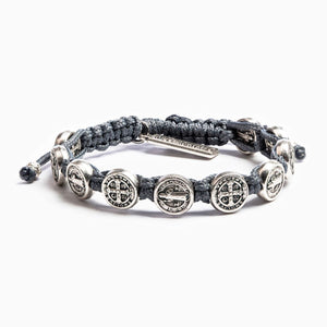 Benedictine Blessing Bracelet Silver Medal on Slate Cord