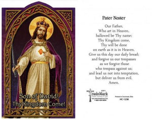Pater Noster (Our Father) Holy Card (embossed) Christ the King - Unique Catholic Gifts