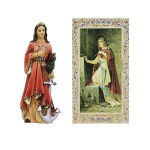 "St Philomena Statue. Hand Painted Solid Resin 4"" - Unique Catholic Gifts"