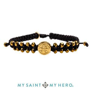 Stairway to Heaven Crystal Benedictine Bracelet (Gold and Black with Gold) jmj