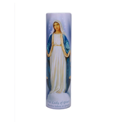 Our Lady of Grace LED Candle with Timer - Unique Catholic Gifts