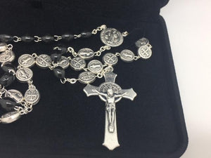 Black Saint Benedict Rosary with Silver St Benedict Medals - Unique Catholic Gifts