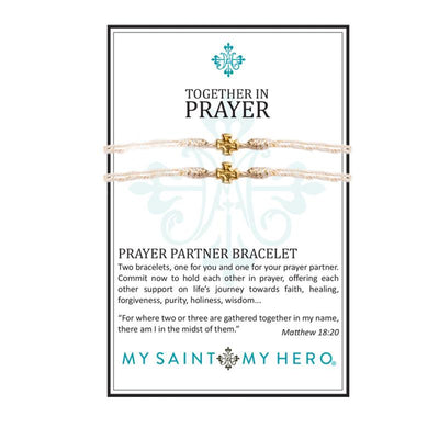 Together in Prayer Bracelets Gold with Metallic Gold Band - Unique Catholic Gifts