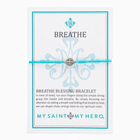 Breathe Blessing Bracelet Silver Medal on Turquoise Cord - Unique Catholic Gifts