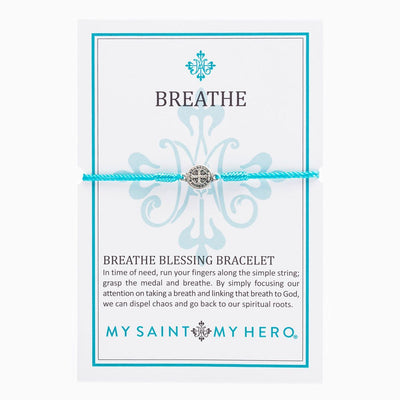 Breathe Blessing Bracelet Silver Medal on Turquoise Cord