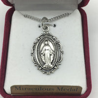 "Silver Miraculous Medal 1"" with an antique look and chain 18"" - Unique Catholic Gifts"