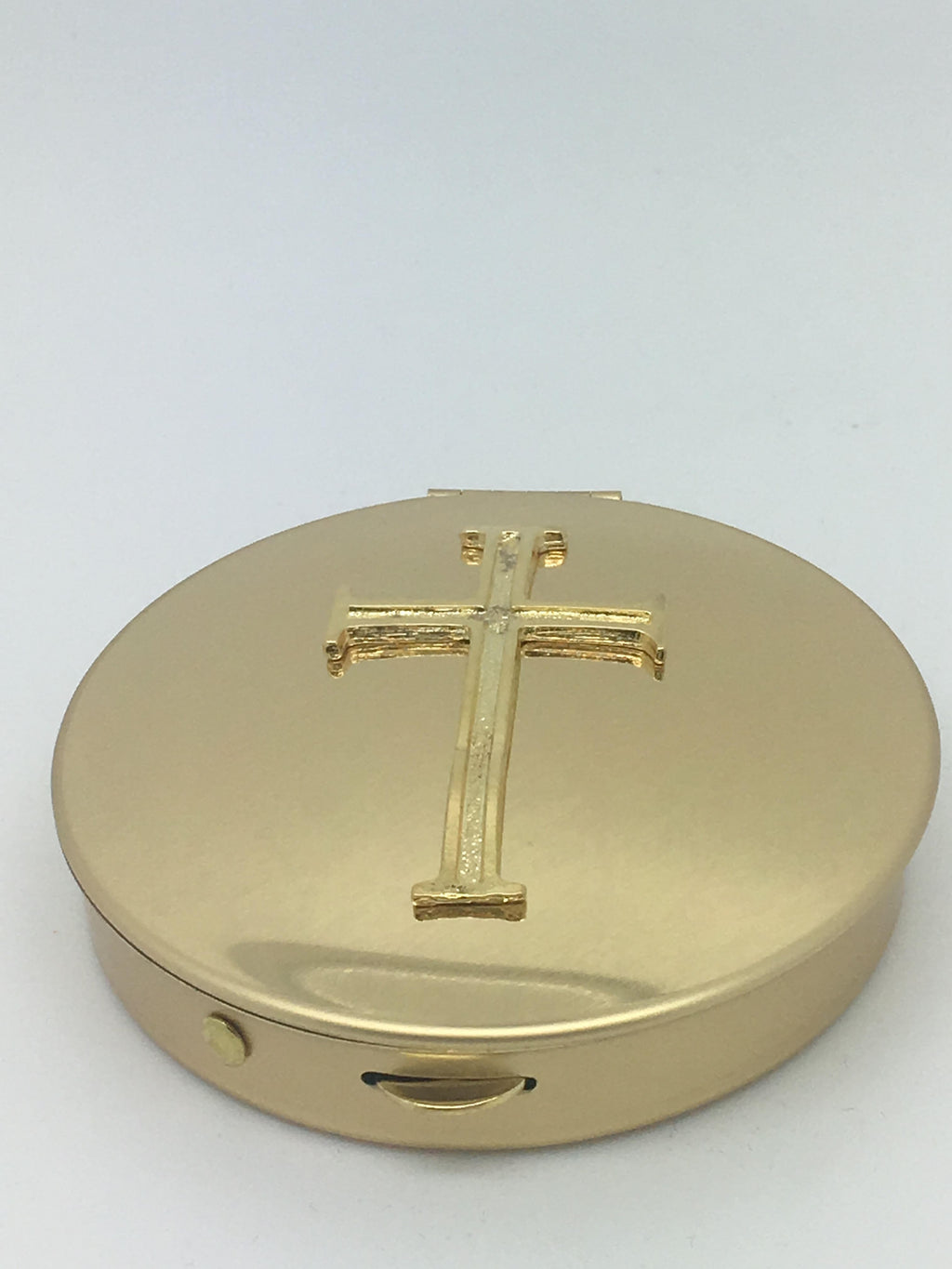 Gold-plated Pyx with Latin Cross Emblem - Unique Catholic Gifts